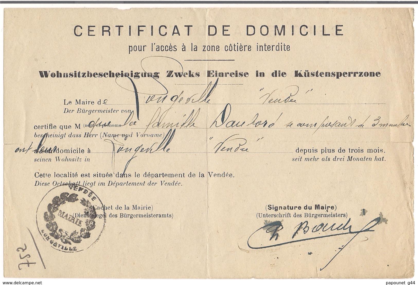Certificat De Domicile Pour L'accès à La Zone Côtière Interdite - Documents Historiques