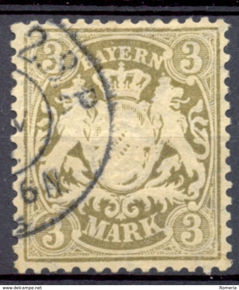 Allemagne - Bavière - 1881/1901 - Yt Nº 66 - 3M Olive Brun - Oblitéré - Bavière