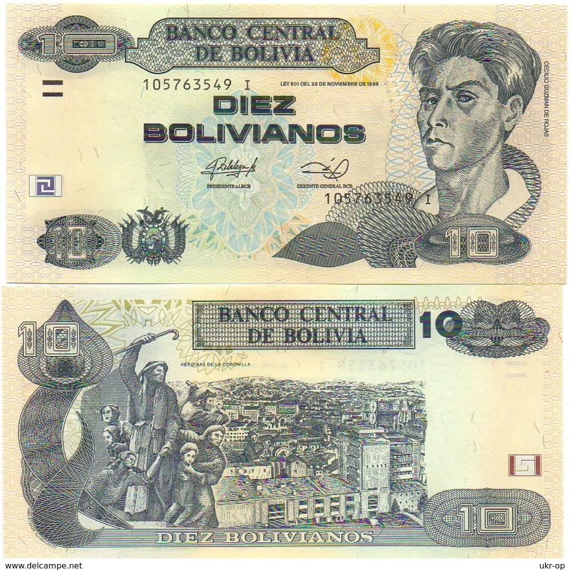 Bolivia - 10 Bolivianos 2014 ( 1986 ) Serie I UNC Ukr-OP - Bolivia