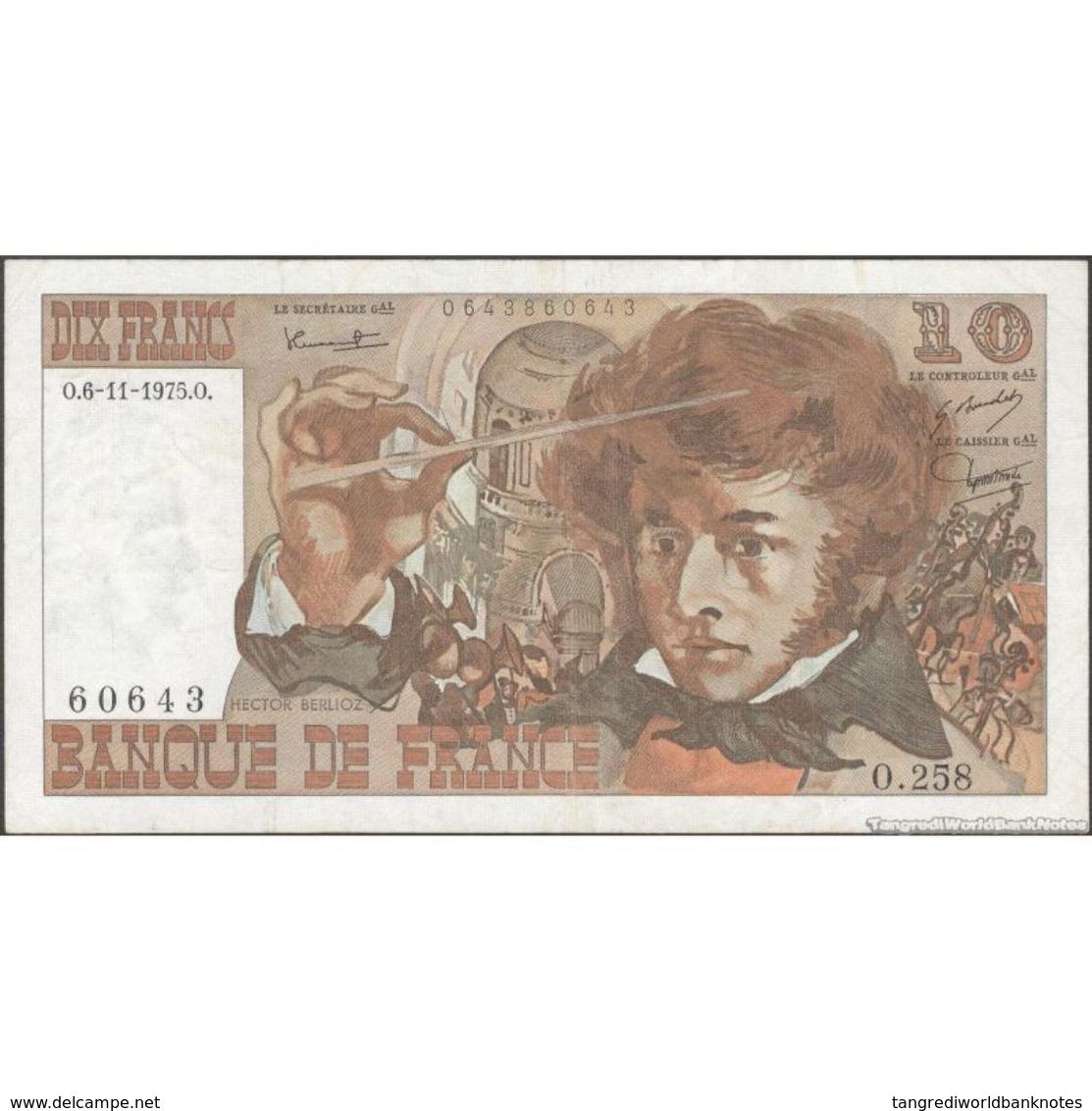 TWN - FRANCE 150b - 10 Francs 6.11.1975 60643 O.258 - Signatures: Bouchet, Tronche & Morant F/VF - 10 F 1972-1978 ''Berlioz''