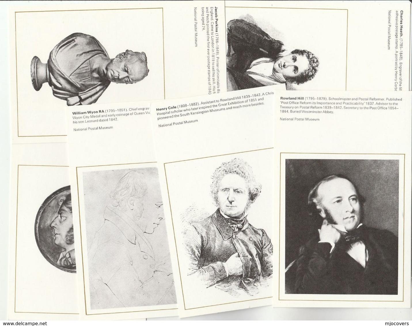 NATIONAL POSTAL MUSEUM Series SET Of 6 Postcards POST REFORM ROWLAND HILL Etc Postcard - Post
