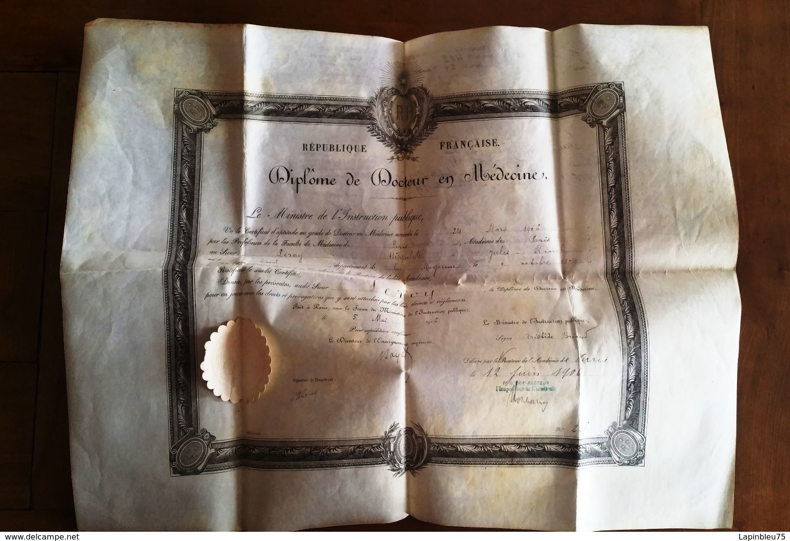 Diplome Docteur En Médecine 1906 - Diplômes & Bulletins Scolaires