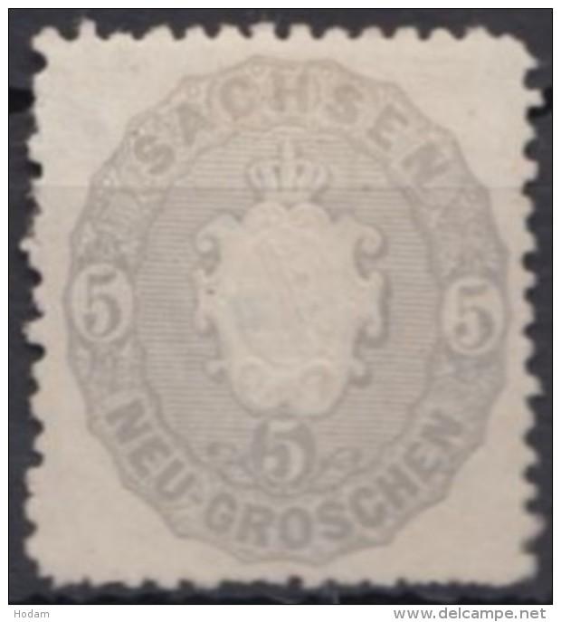 Mi-Nr. 19f, Reingrau, Ohne Gummi, * - Sachsen