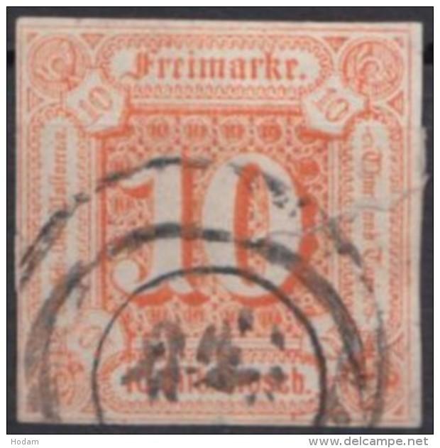 Mi-Nr. 19, Vollrandig, Geschlossener Riss, Stempel Verwischt, O - Thurn Und Taxis