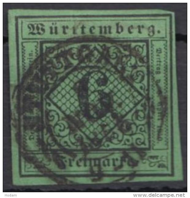 "Mi-Nr. 3b, Vollrandig, Zentr. ""Stuttgart"", Oben Winz. Nadelstich, O - Wuerttemberg"
