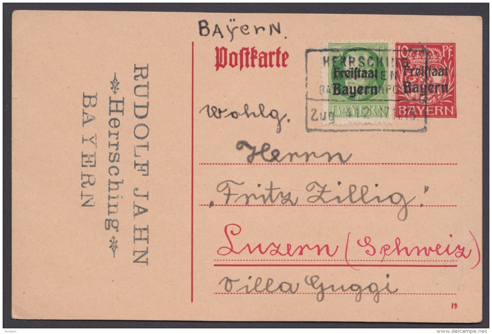"Bahnpost, ""Herrsching- München"", Bay. Bahnpost, GS In Die Schweiz 1919 - Briefe U. Dokumente"
