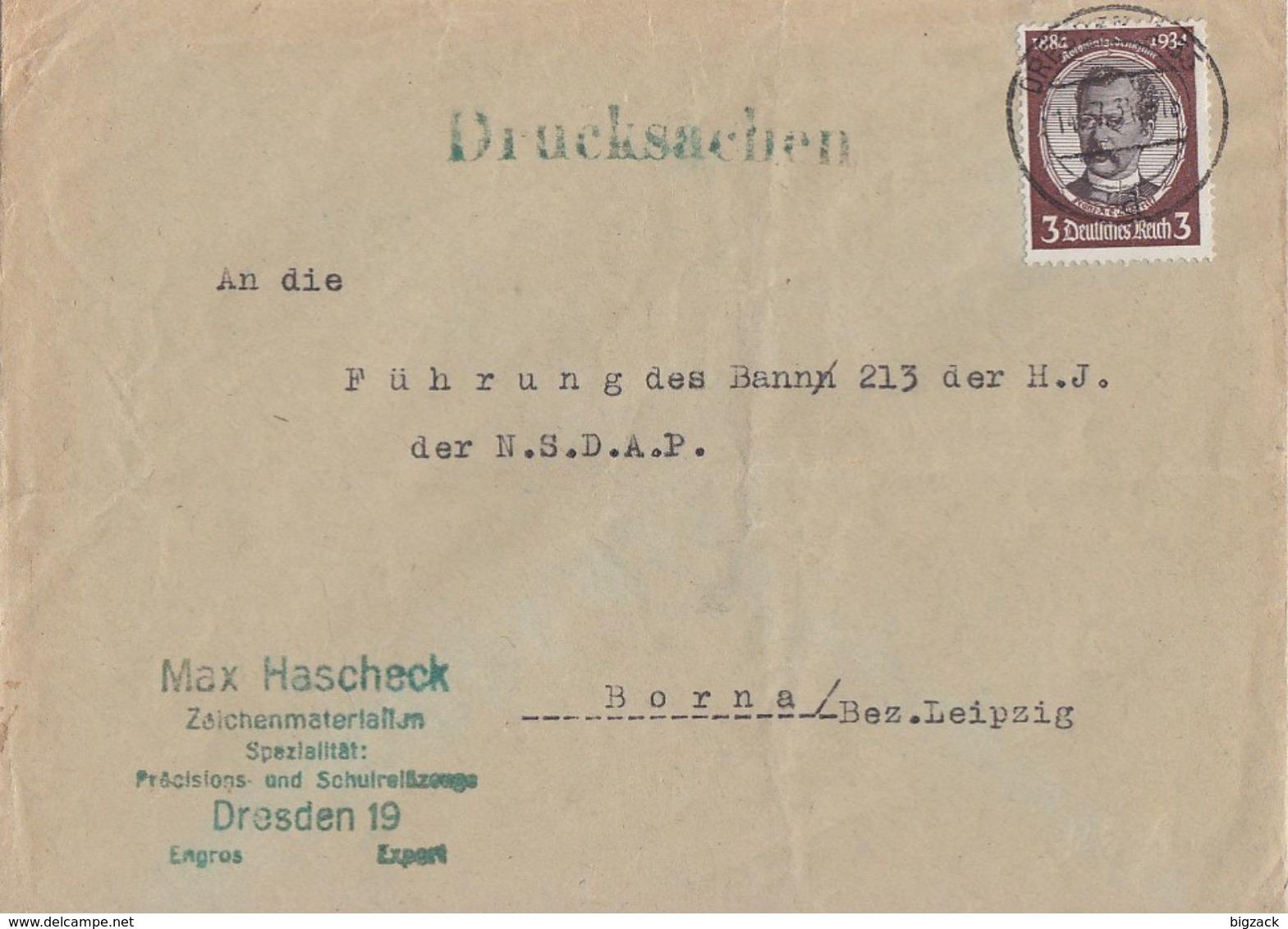 DR Brief Drucksache EF Minr.540 Dresden 14.7.34 Ansehen !!!!! - Deutschland
