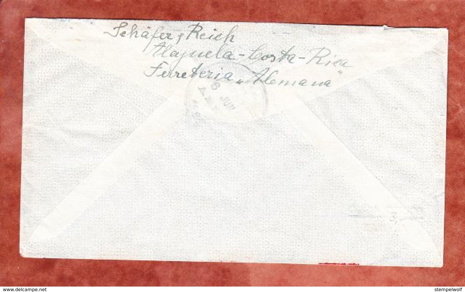 Luftpost, MiF Flugzeug, Alajuela Nach Nuernberg 1952 (49365) - Costa Rica