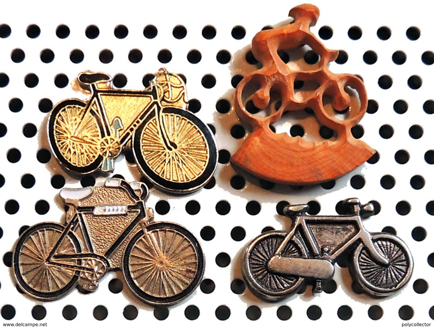 Lot 4 Beaux Pin's Sur Le Cyclisme 2 Vélos Métalliques époxy 1 Vélo Métal Argenté & 1 Vélo En Bois Naturel Sculpté Ajouré - Cyclisme