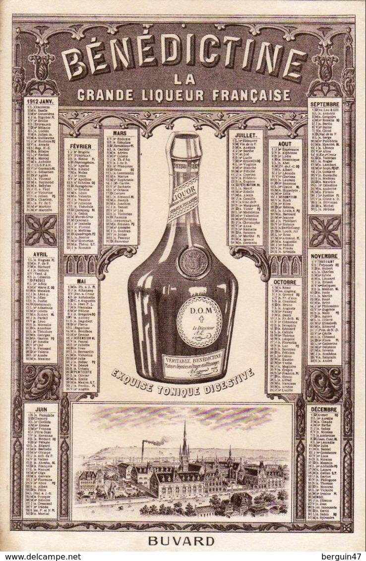 SUPERBE BUVARD CALENDRIER 1912 BÉNÉDICTINE - Liquor & Beer