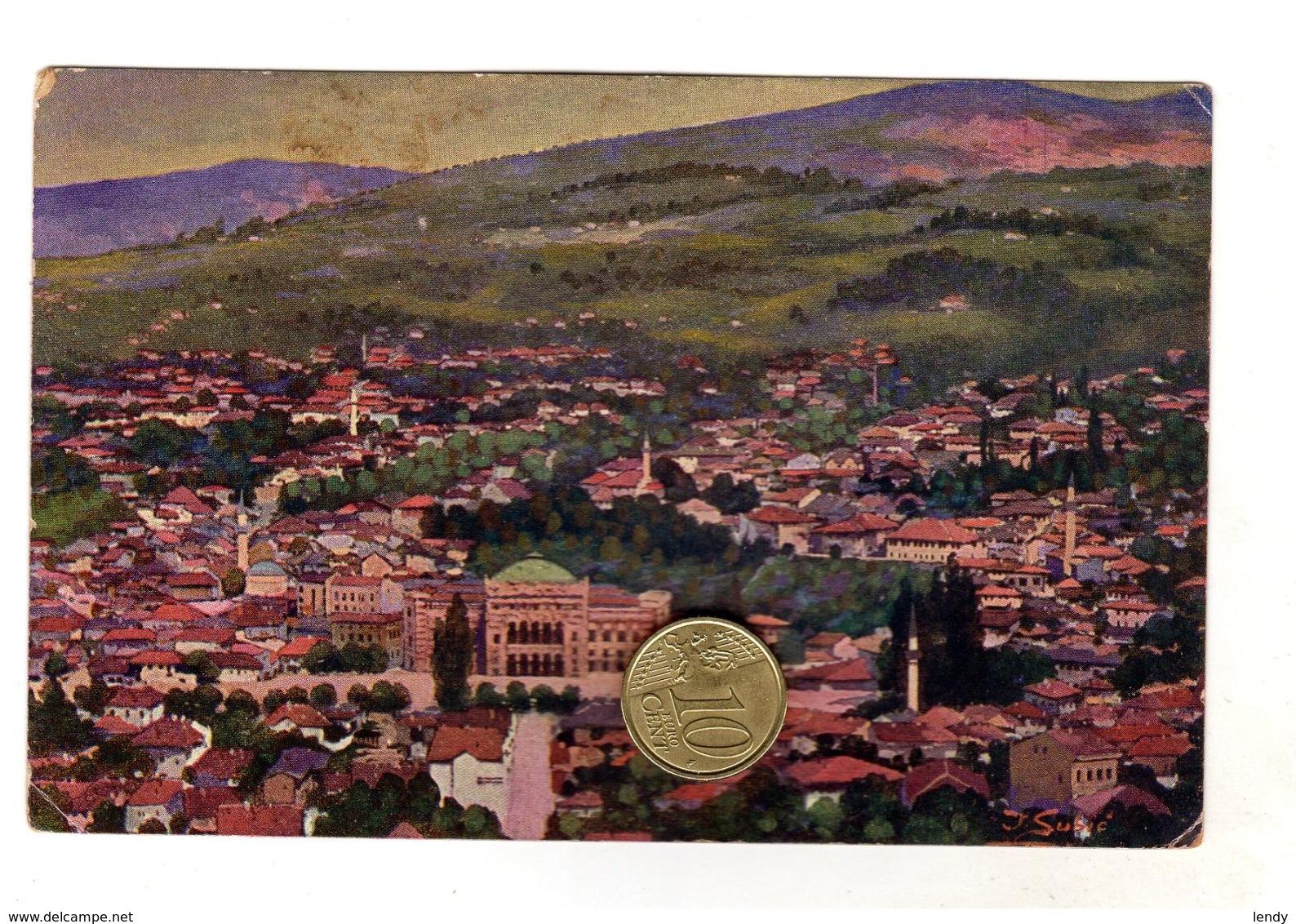 Sarajevo Pogled Sa Vijecnicom -  Viaggiata 1918 - Bosnia Erzegovina