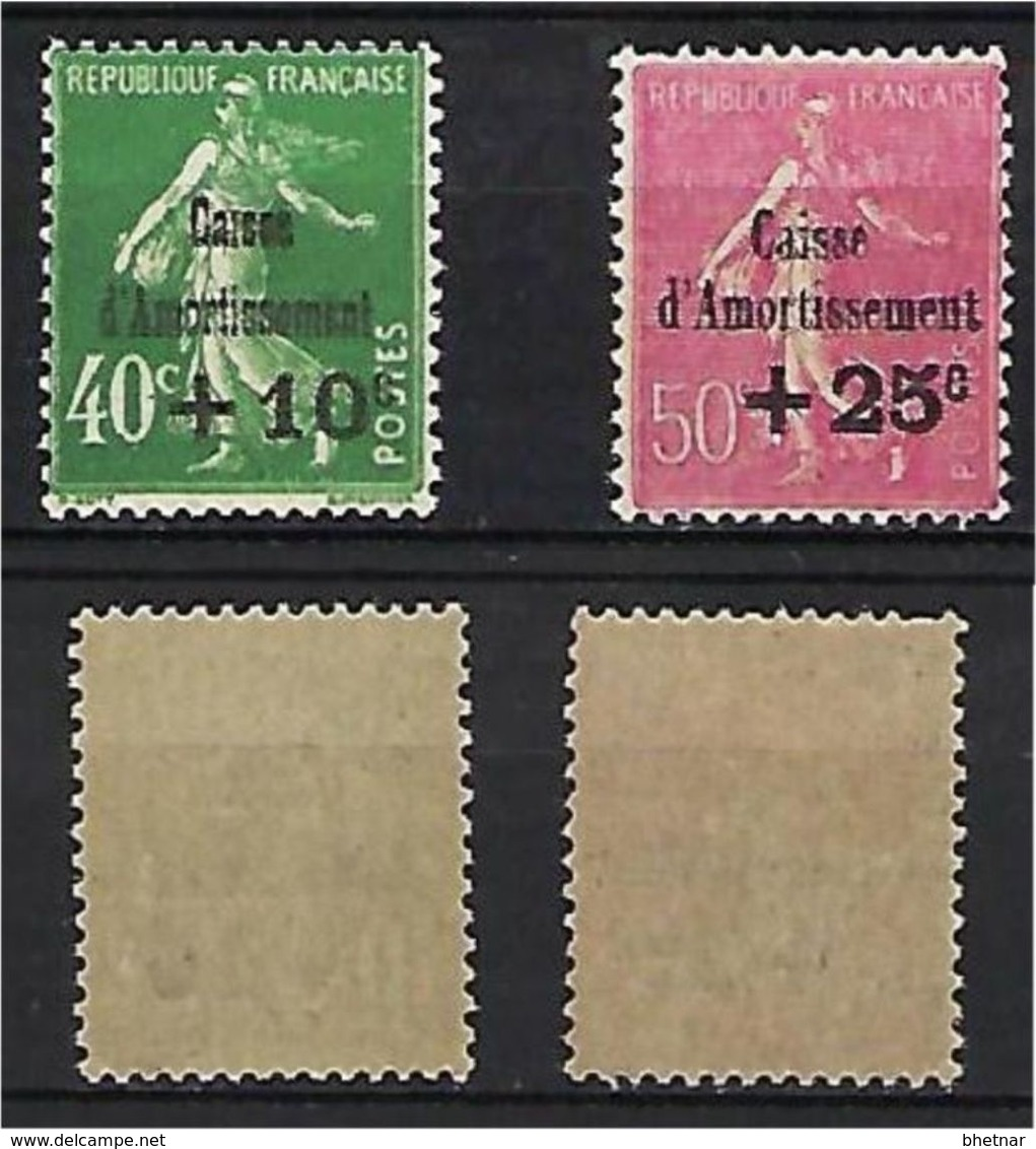 "FR YT 253 & 254 "" Caisse D'amortissement "" 1929 Neuf* - Sinking Fund"