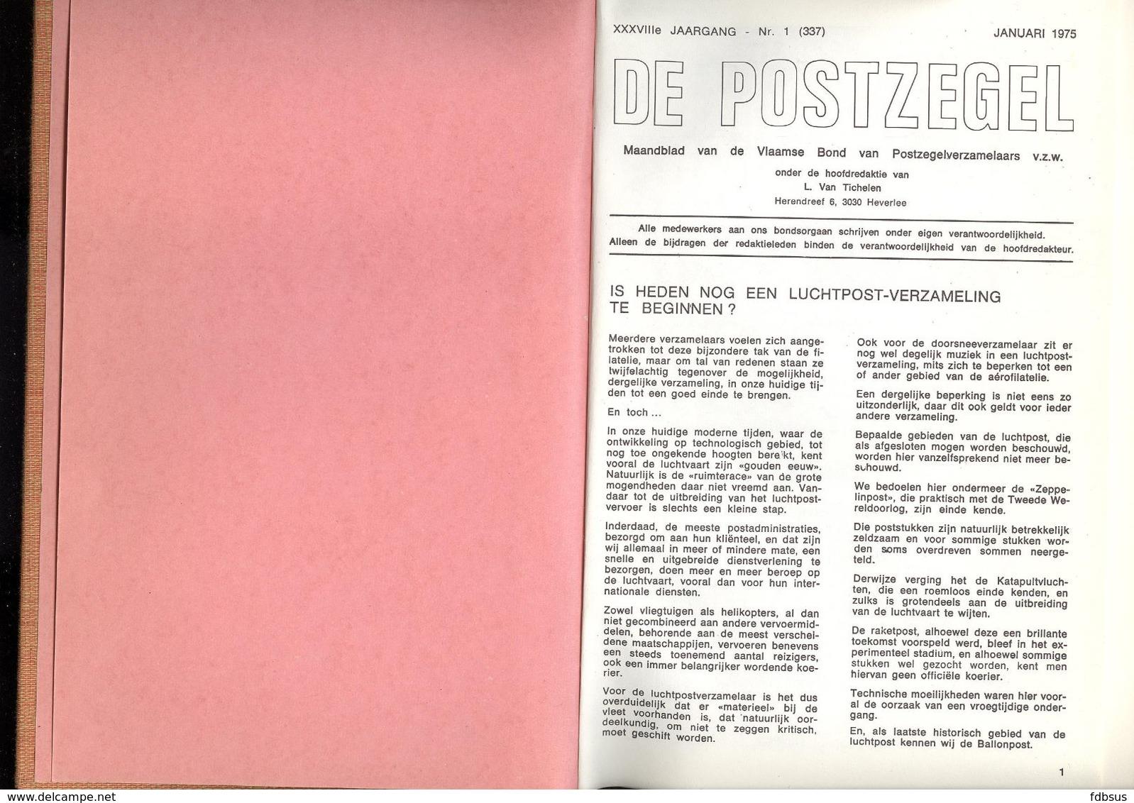 DE POSTZEGEL - ZEER MOOI EN PROPER INGEBONDEN - COMPLETE 38e JAARGANG 1975 - VEEL INFO MET INHOUDSTAFEL -  EXTRA MOOI - Nederlands