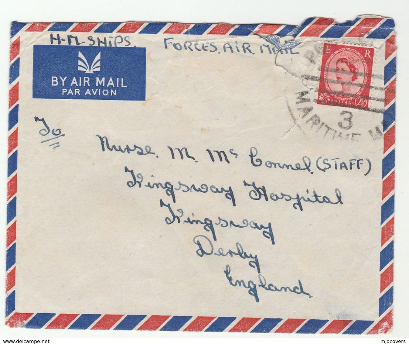 1950s COVER From HMS KENYA Ship  To Kingsway HOSPITAL Derby GB  With MARITIME MAIL Pmk Navy Forces GB Stamps - Ships