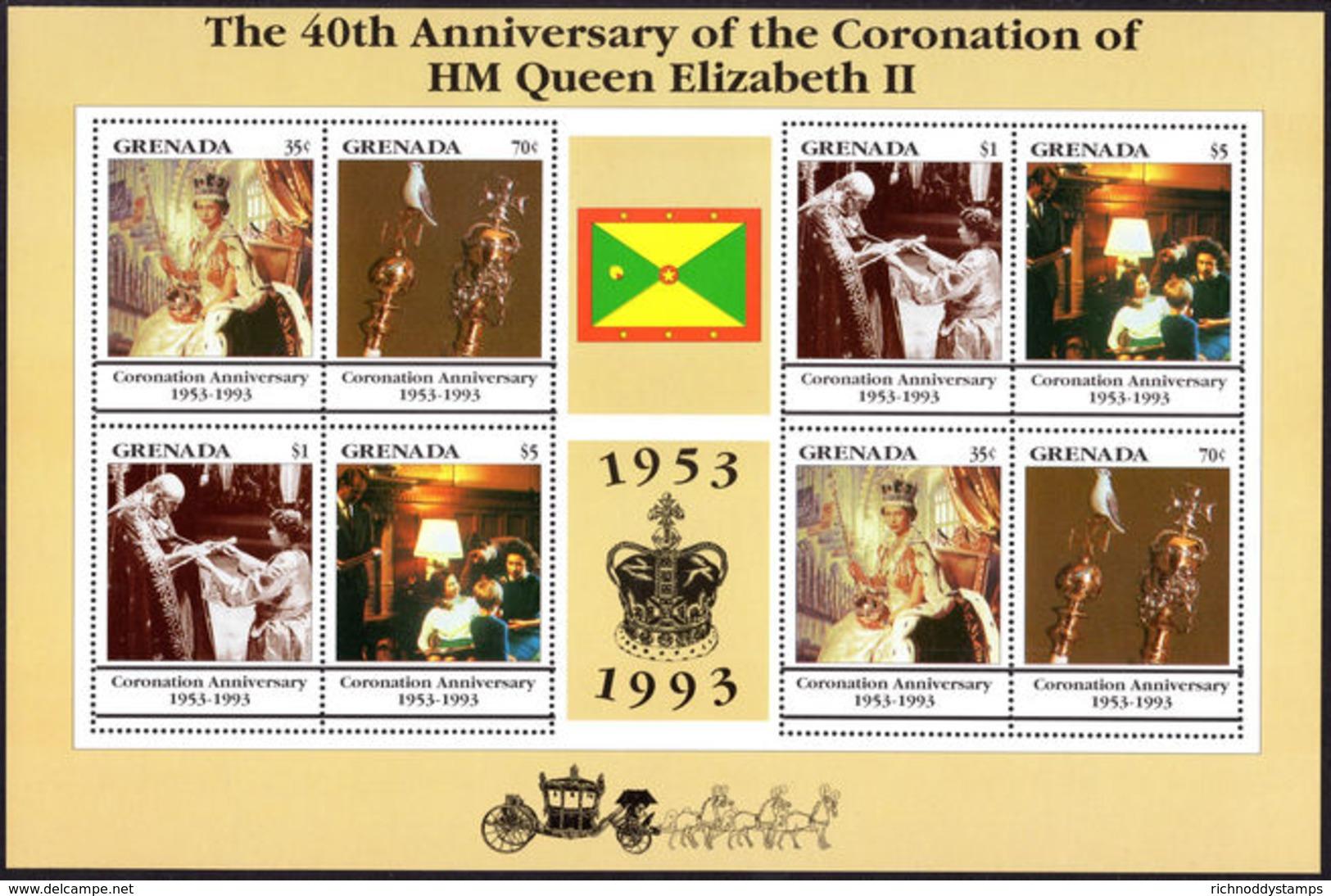 Grenada 1993 Coronation Anniversary Sheetlet Unmounted Mint. - Grenada (1974-...)