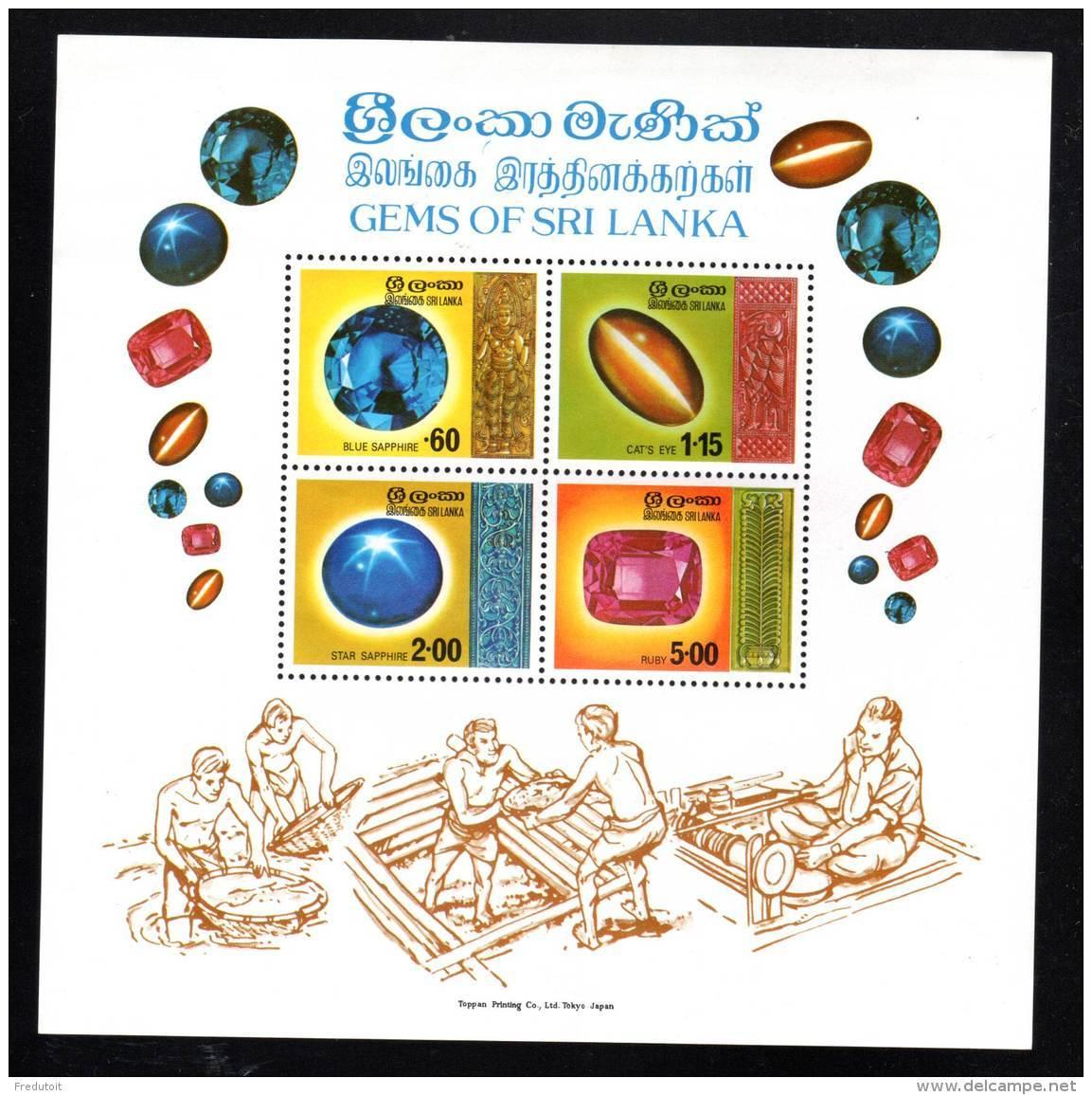 SRI LANKA - 1976 - BLOC N° 5 **  MINERAUX / GEMS - Sri Lanka (Ceylan) (1948-...)