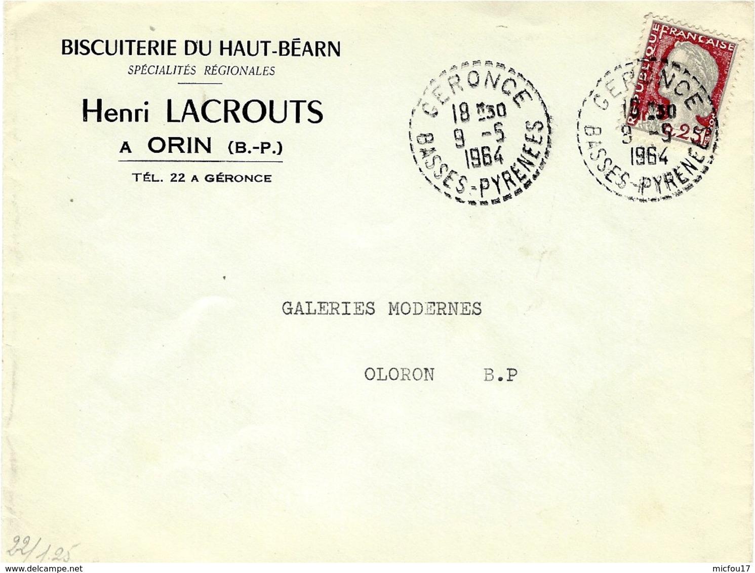 1964- Enveloppe  De CERONCE ( Basses Pyrénées ) Cad  Facteur Receveur 1 Cercle Pointillé - Marcophilie (Lettres)