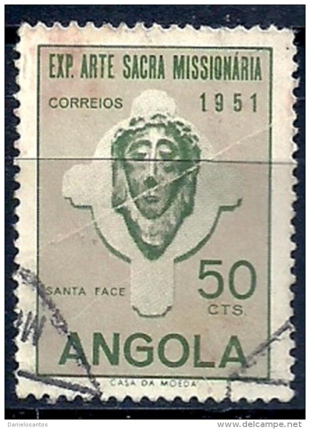 Angola 1952 Exhibition Of Sacred Missionary Art, Lisbon 1951 A35 Head Of Christ  Canc - Christentum