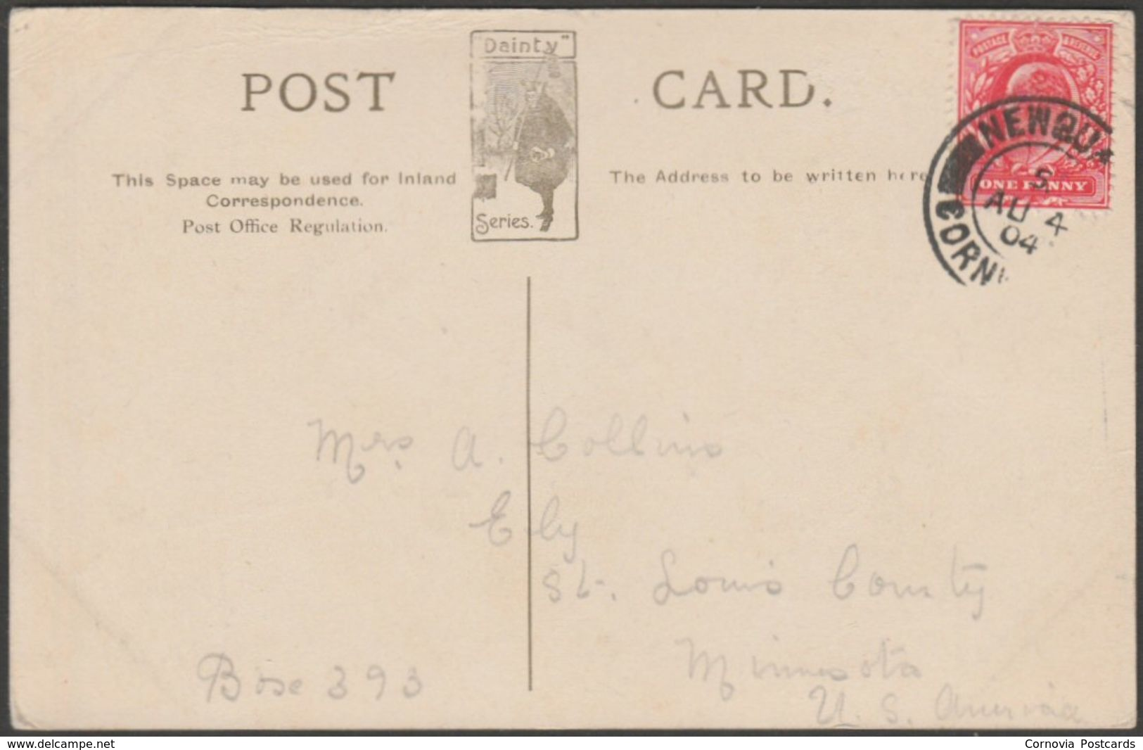 Beach & Atlantic Hotel, Newquay, Cornwall, 1904 - Dainty Series Postcard - Newquay