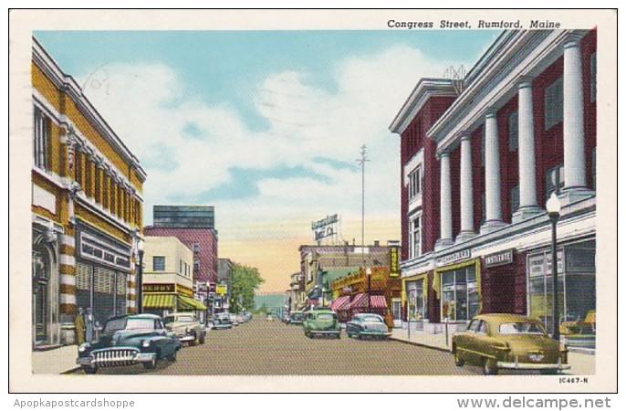 Maine Rumford Congress Street 1958 Curteich
