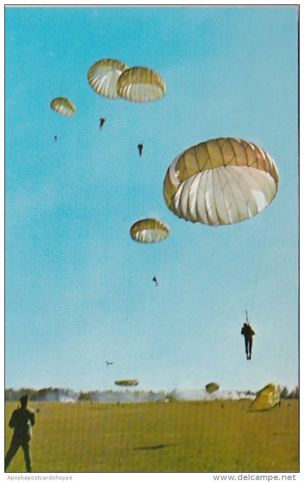 Georgia Fryar Field Jumpers Landing On Drop Zone U S Army Infant