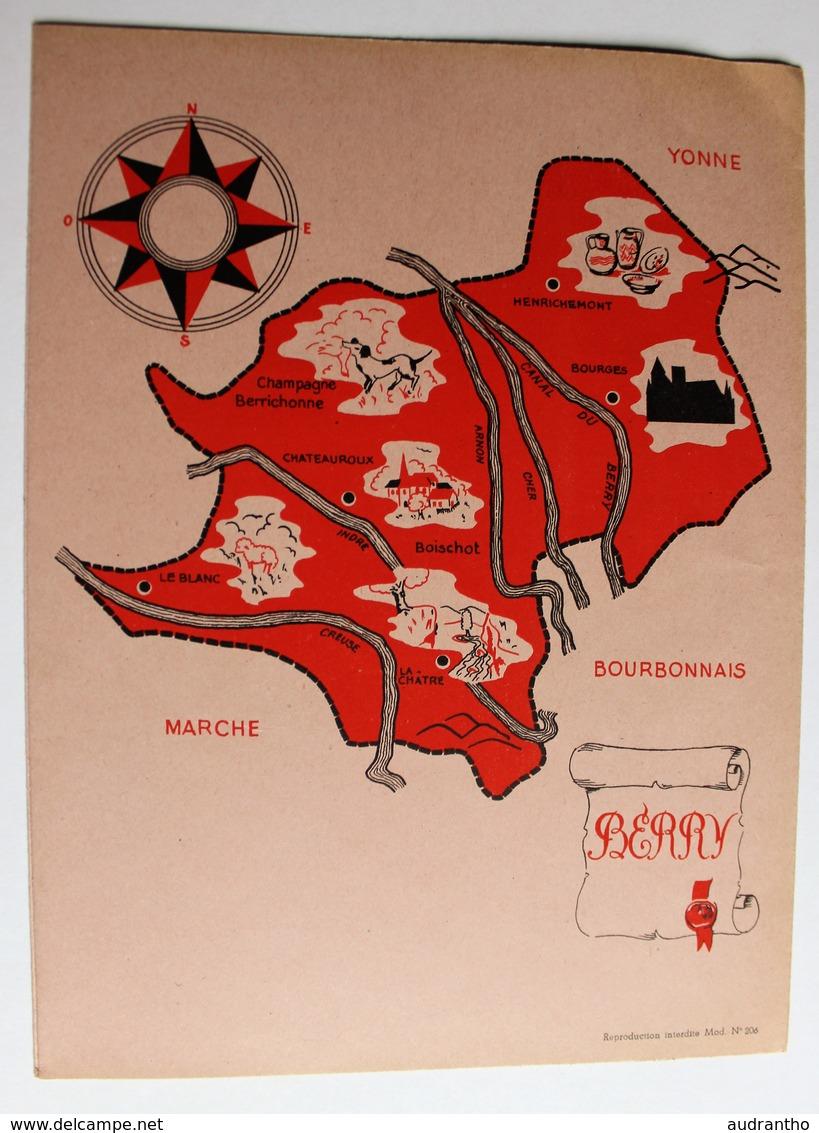 Ancien Protège Cahier écolier Berry Provinces De France Boischot Bourges LA Châtre Henrichemont - A