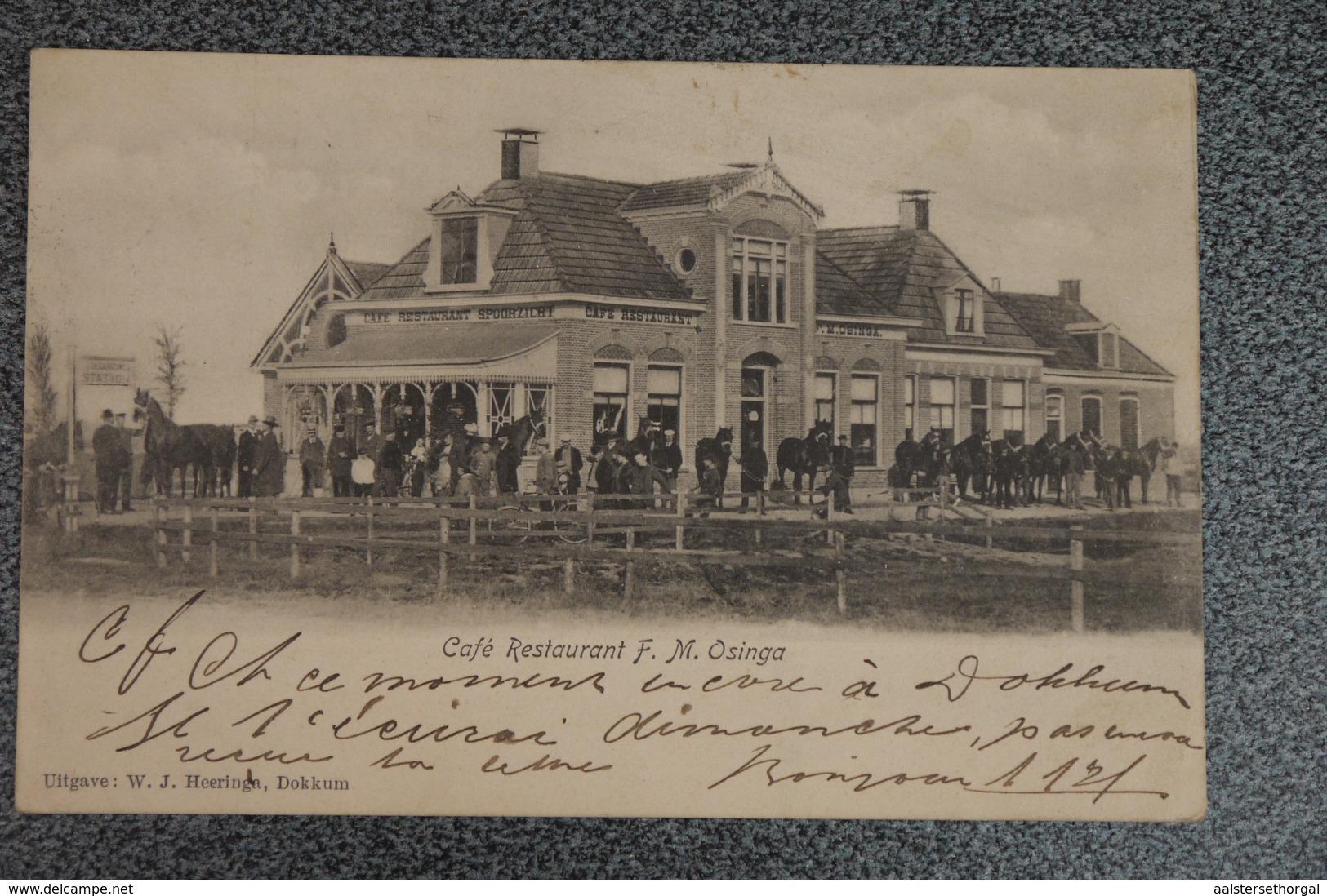 Dokkum Postkaart Ansichtkaart Cafe Restaurant Osinga 1904 Animatie - Dokkum