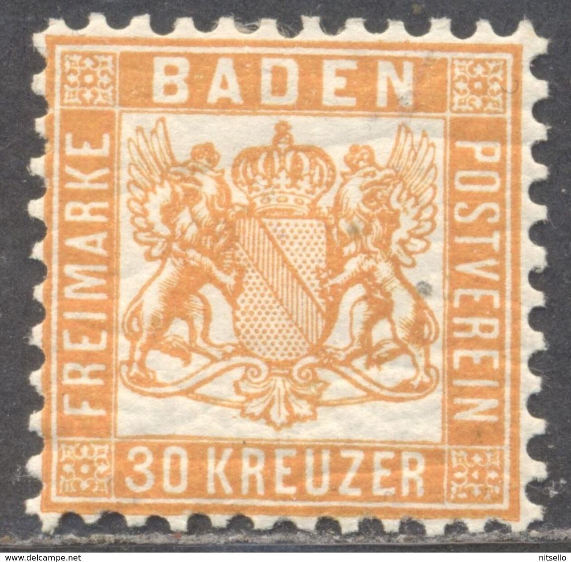 LOTE 1692  ///  (C130) ALEMANIA BADEN  YVERT Nº: 21 **MH GOMA ORIGINAL     CATALOG./COTE: 45€ - Baden