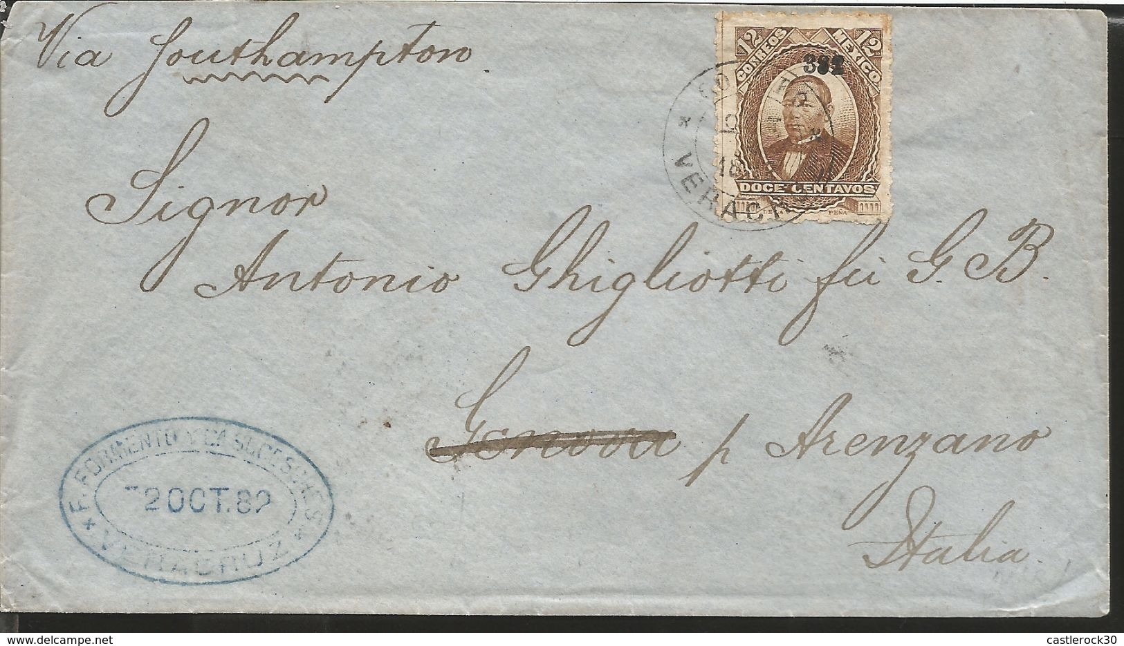 J) 1882 MEXICO, HIDALGO'S HEAD, 12 CENTS BROWN, BLUE CANCELLATION, AIRMAIL, CIRCULATED COVER, FROM MEXICO TO ITALIA - Mexico