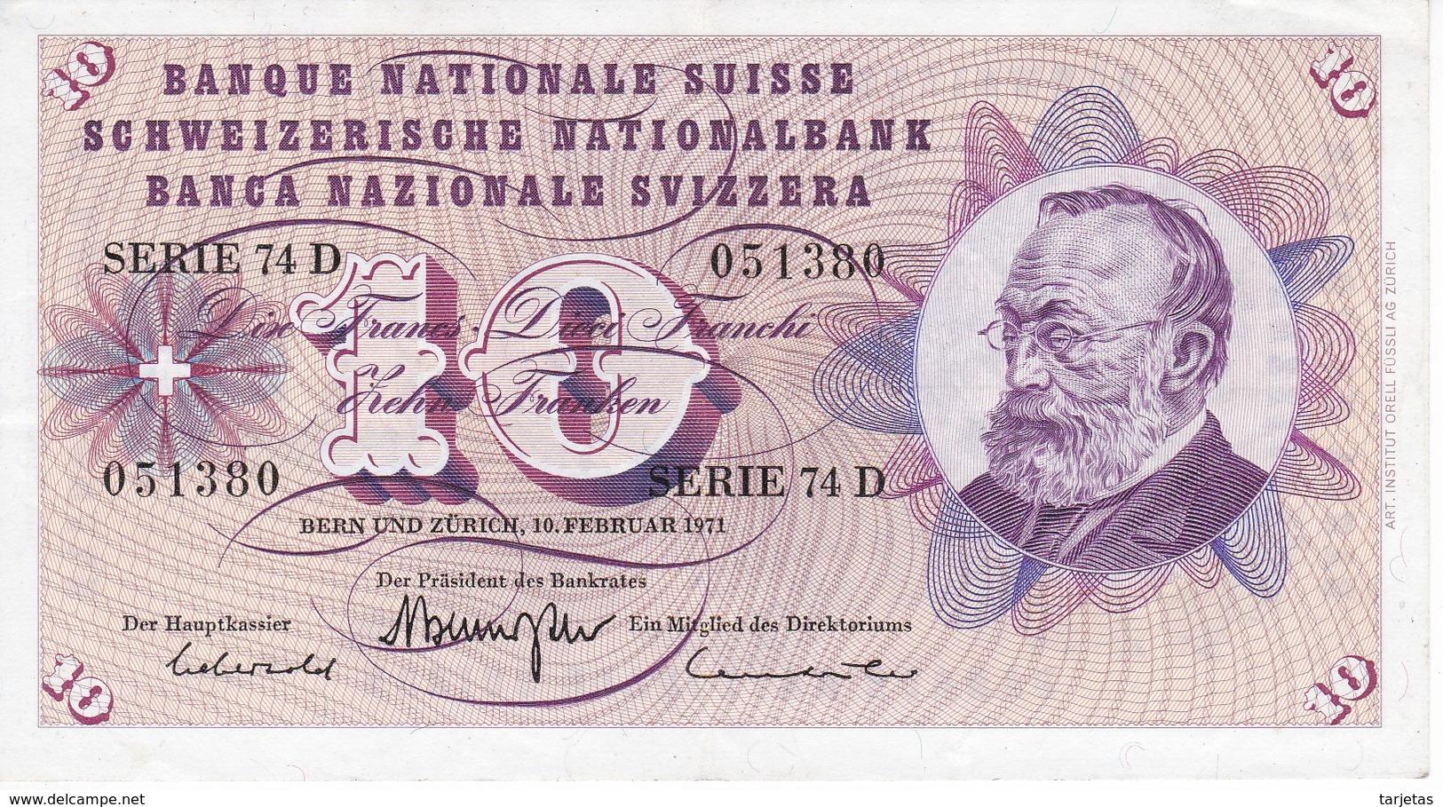 BILLETE DE SUIZA DE 10 FRANCS DEL AÑO 1971 EN CALIDAD EBC (XF) (BANKNOTE) - Suisse