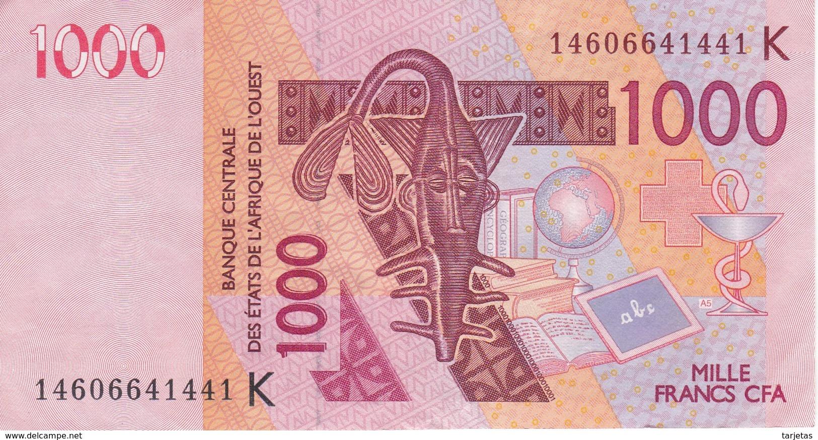 BILLETE DE SENEGAL DE 1000 FRANCS DEL AÑO 2003 CALIDAD EBC (XF) (CAMELLO-CAMEL) (BANK NOTE) - Senegal