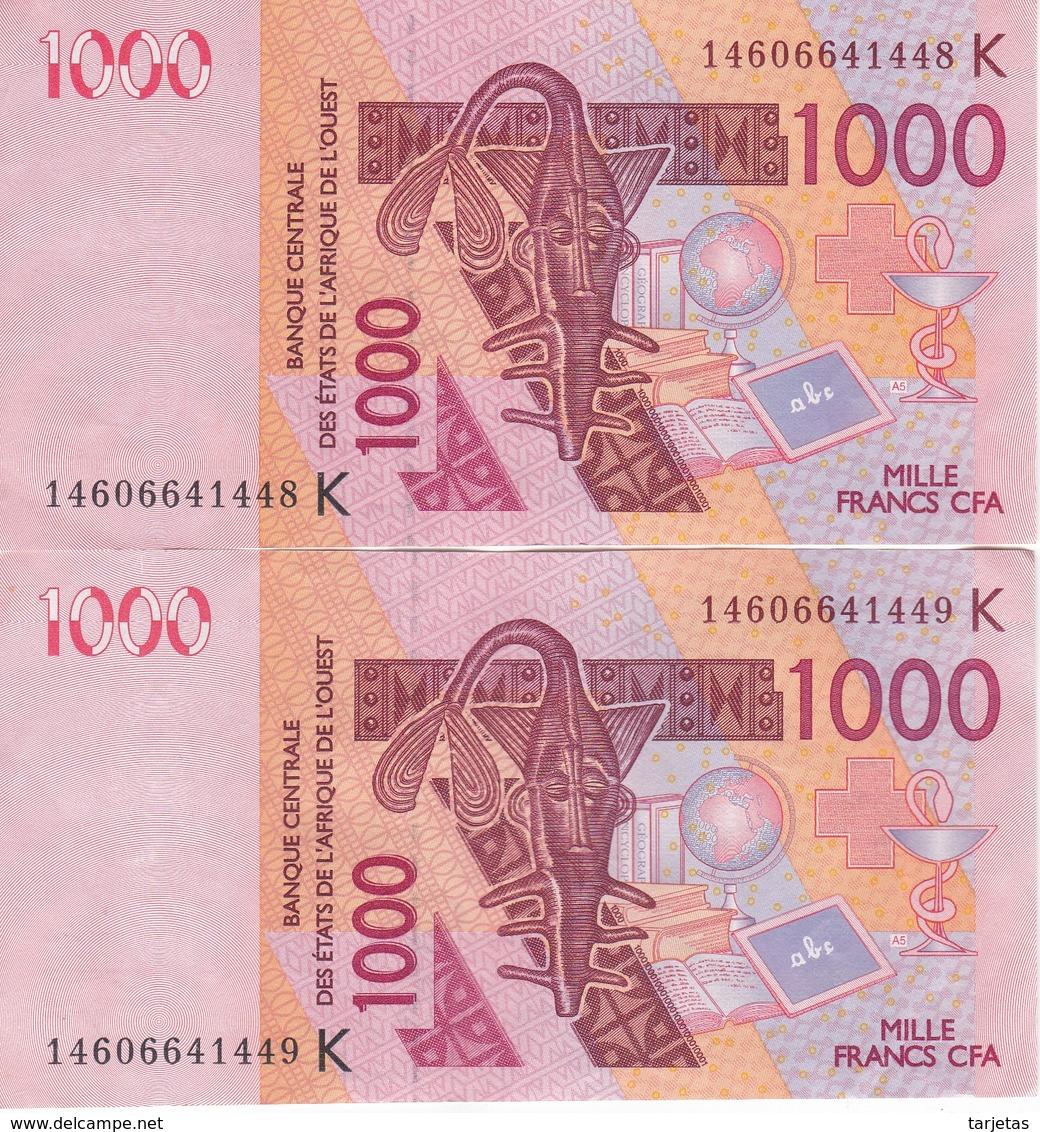 PAREJA CORRELATIVA DE SENEGAL DE 1000 FRANCS DEL AÑO 2003 CALIDAD EBC (XF) (CAMELLO-CAMEL) (BANK NOTE) - Senegal