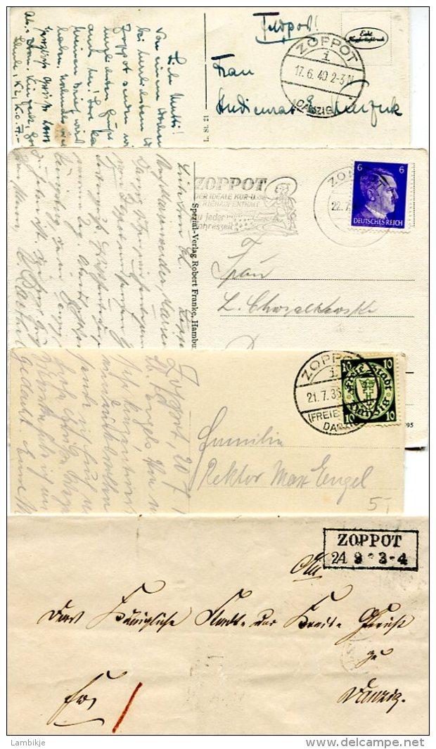Deutsches Reich Danzig 1 Brief + 3 Postkarten Zopot - Danzig