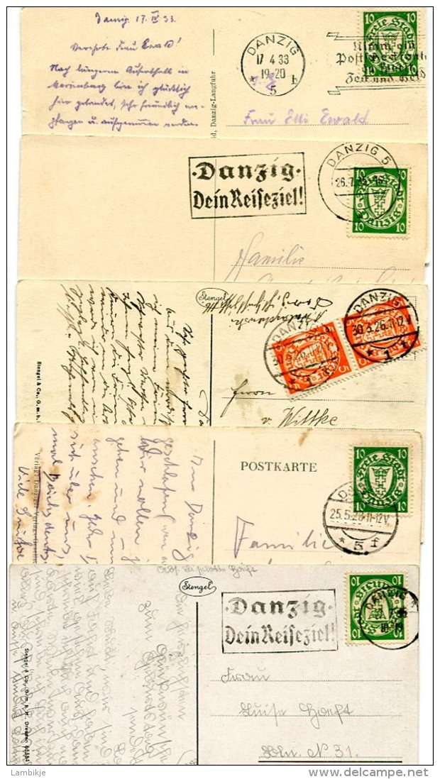 Deutsches Reich Kleine Sammlung Danzig 5 Postkarten - Danzig
