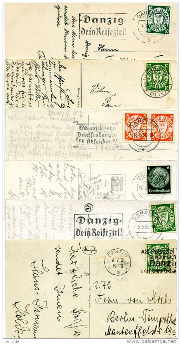 Deutsches Reich Kleine Sammlung Danzig 6 Postkarten - Danzig