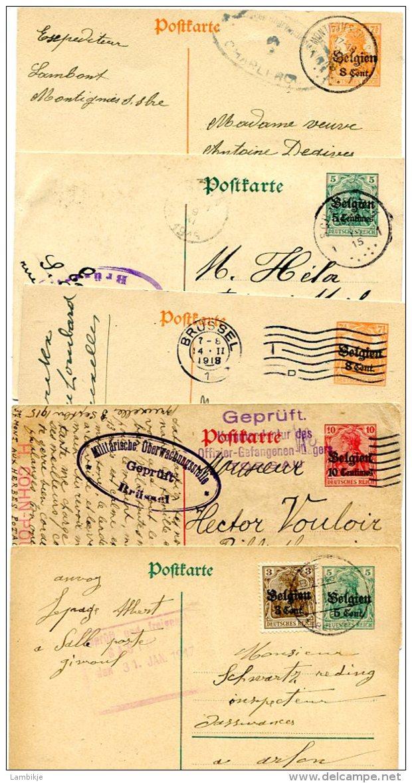 Deutsches Reich Landespost Belgien 5 Postkarten 1914-1918 - Besetzungen 1914-18