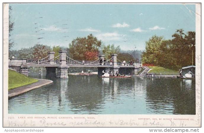 Massachusetts Boston Lake and Bridge Public Gardens 1905