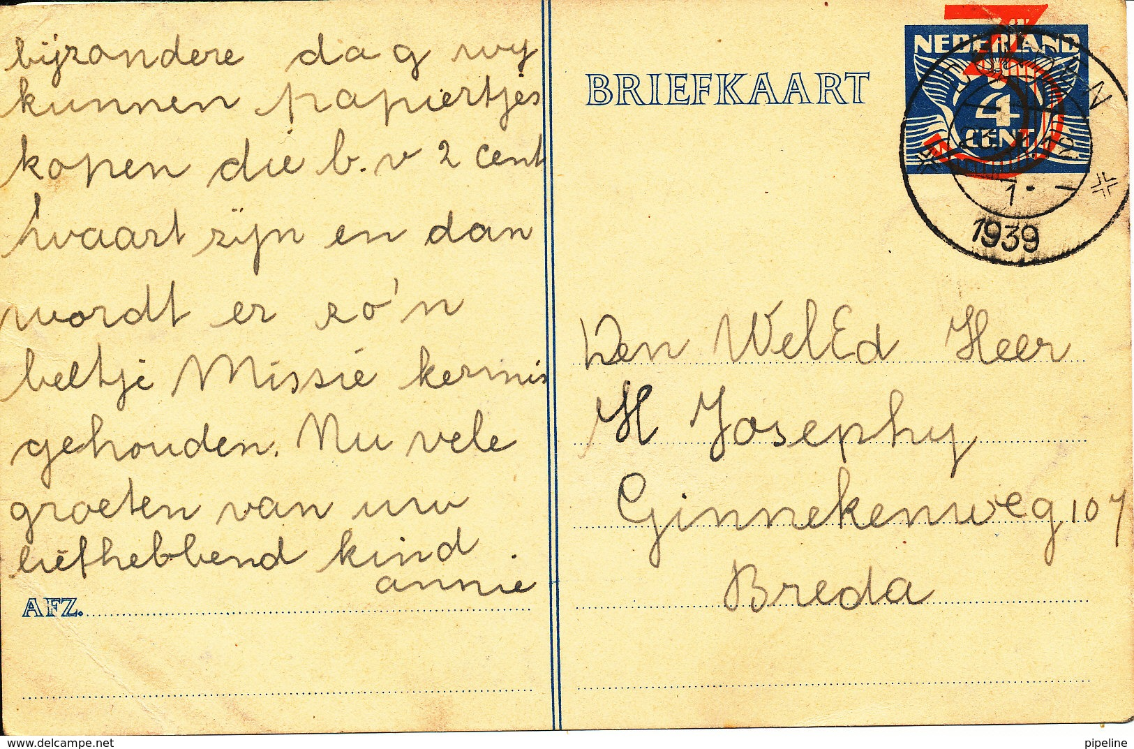 Netherlands Postal Stationery Card Dongen 23-10-1939 2 Bended Corners - Postal Stationery