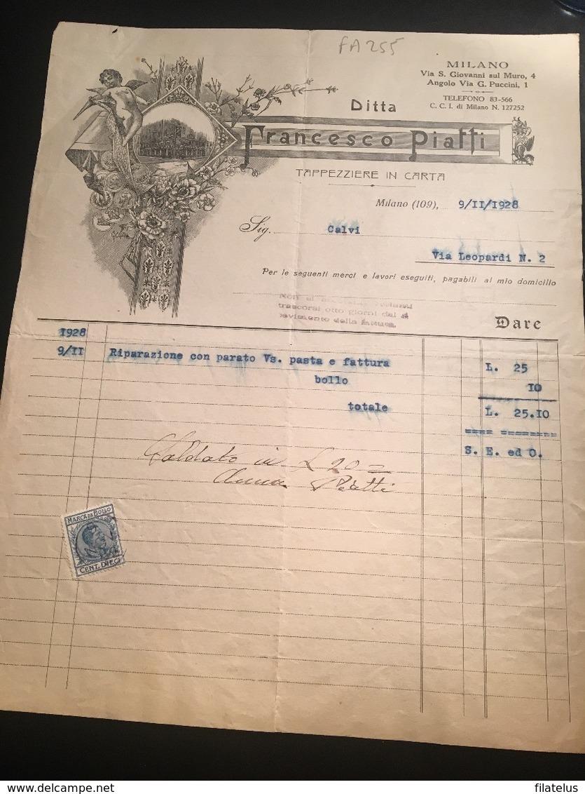 9-11-1928-MILANO-VIA S. GIOVANNI SUL MURO-DITTA FRANCESCO PIATTI-TAPPEZZERIA IN CARTA-MARCA DA BOLLO CENT.10 - Italy