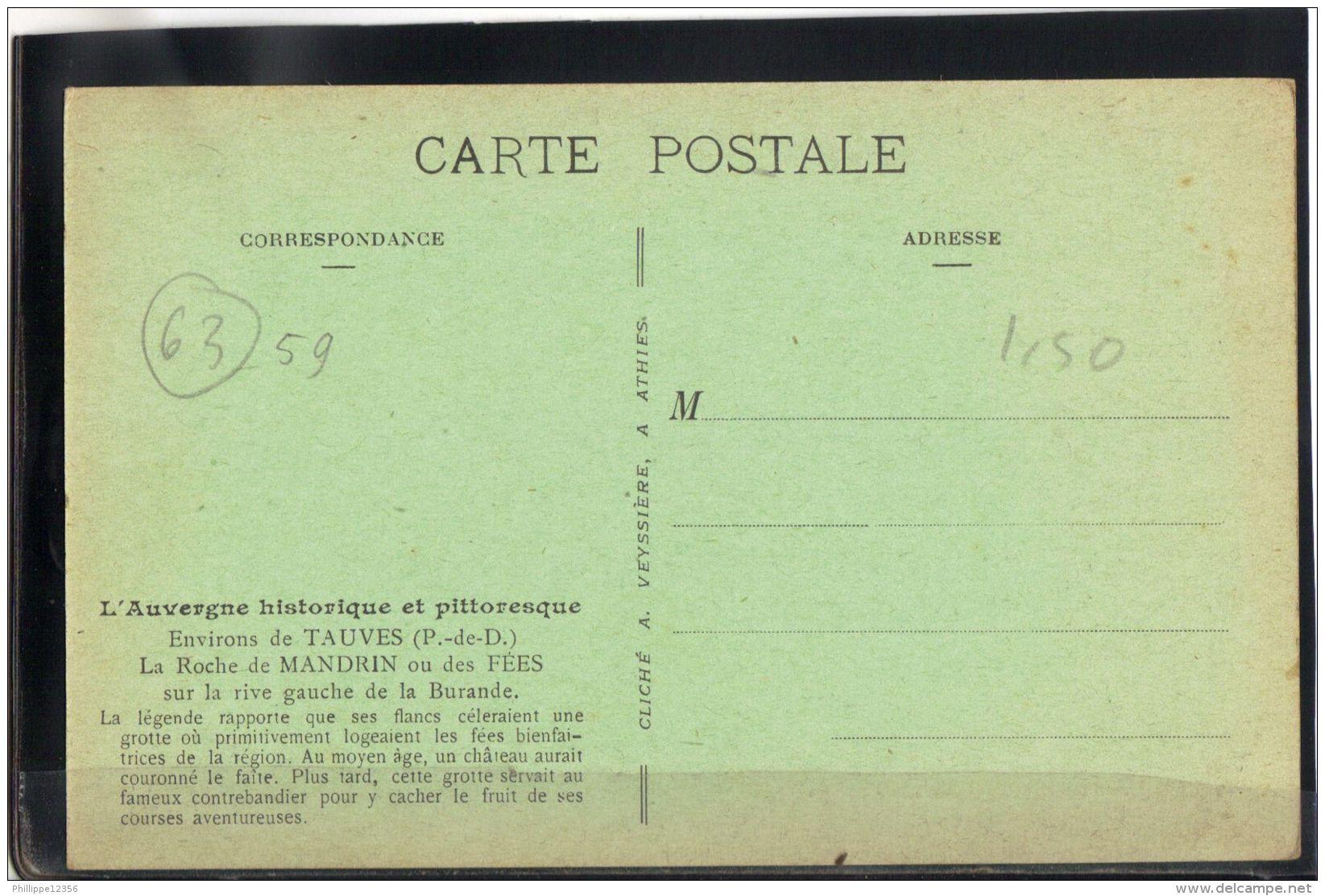 6359. LA  ROCHE DE MANDRIN .OU DES FEES. ENVIRONS DE TAUVES  . (recto Verso) - France