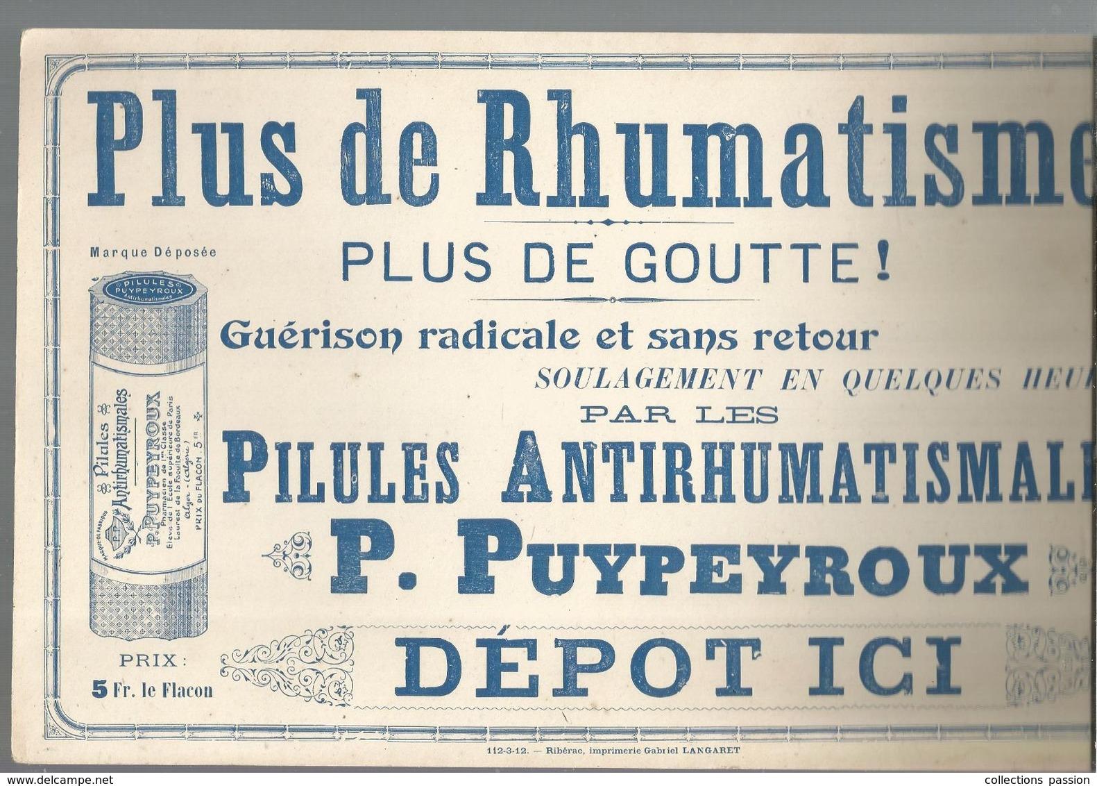 Publicité , Plaque , Cartonnage Léger ,pilules Antirhumatismales P. PUYPEYROUX, Alger, Frais Fr 2.95 E - Plaques En Carton