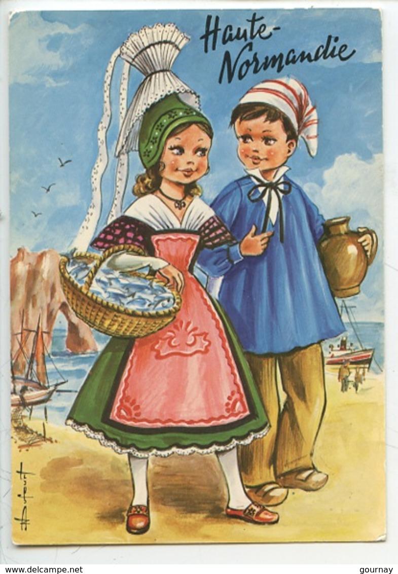 Haute Normandie - Dufourt Illustrateur Couple Folklore Etretat (coiffe Costume Poisson Cidre) - Etretat