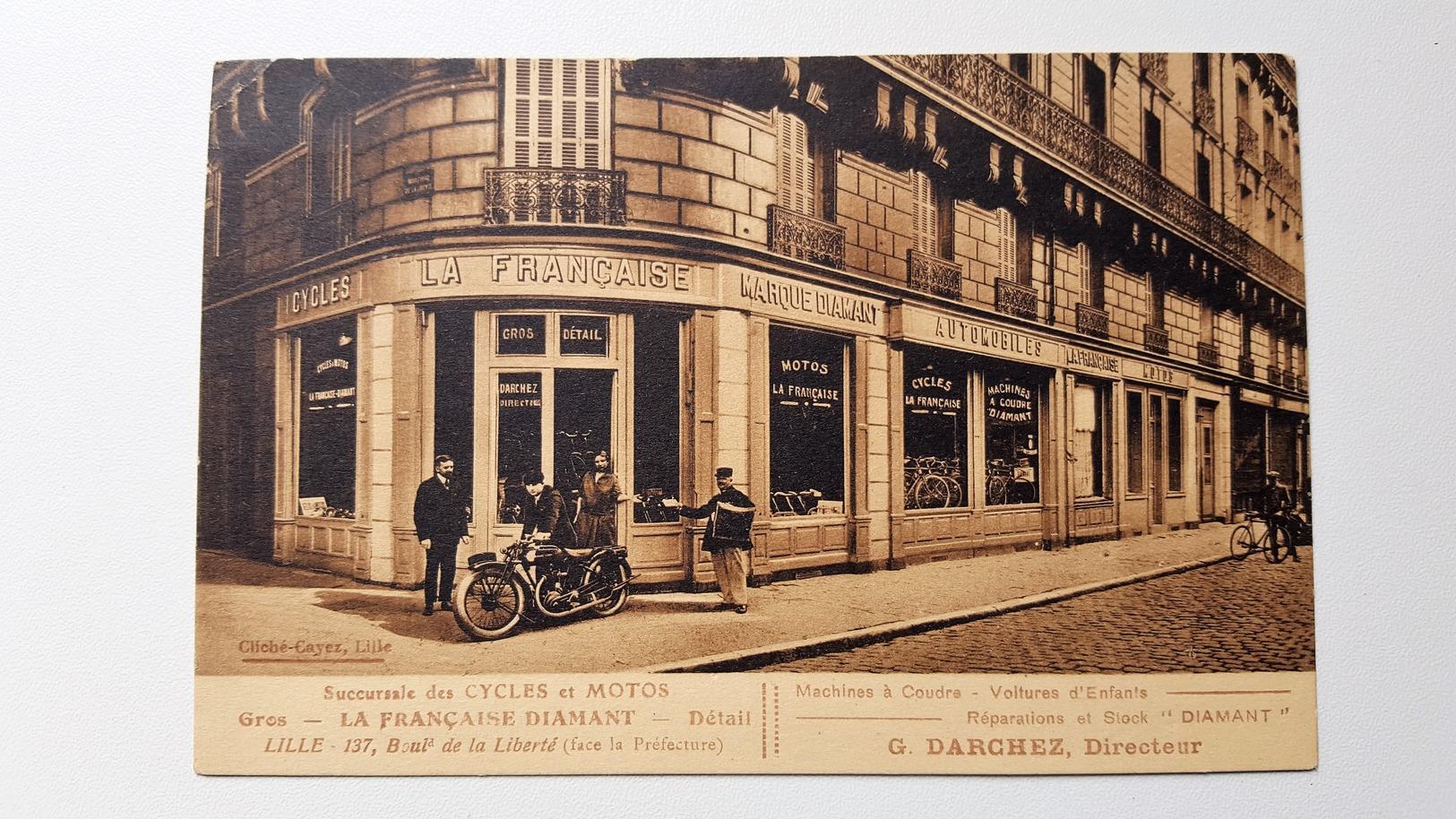 LILLE Sucursale De Cycles Et Motos LA FRANCAISE DIAMANT  G.DARCHEZ Directeur - Lille