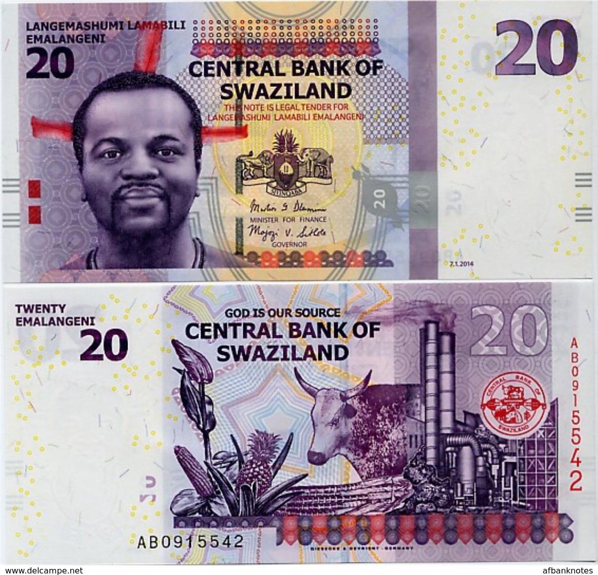 SWAZILAND       20 Emalangeni       P-37b       7.1.2014        UNC - Swaziland