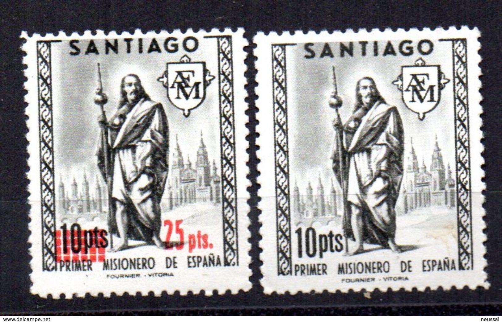 2 Viñetas Misionero De España Santiago. - España