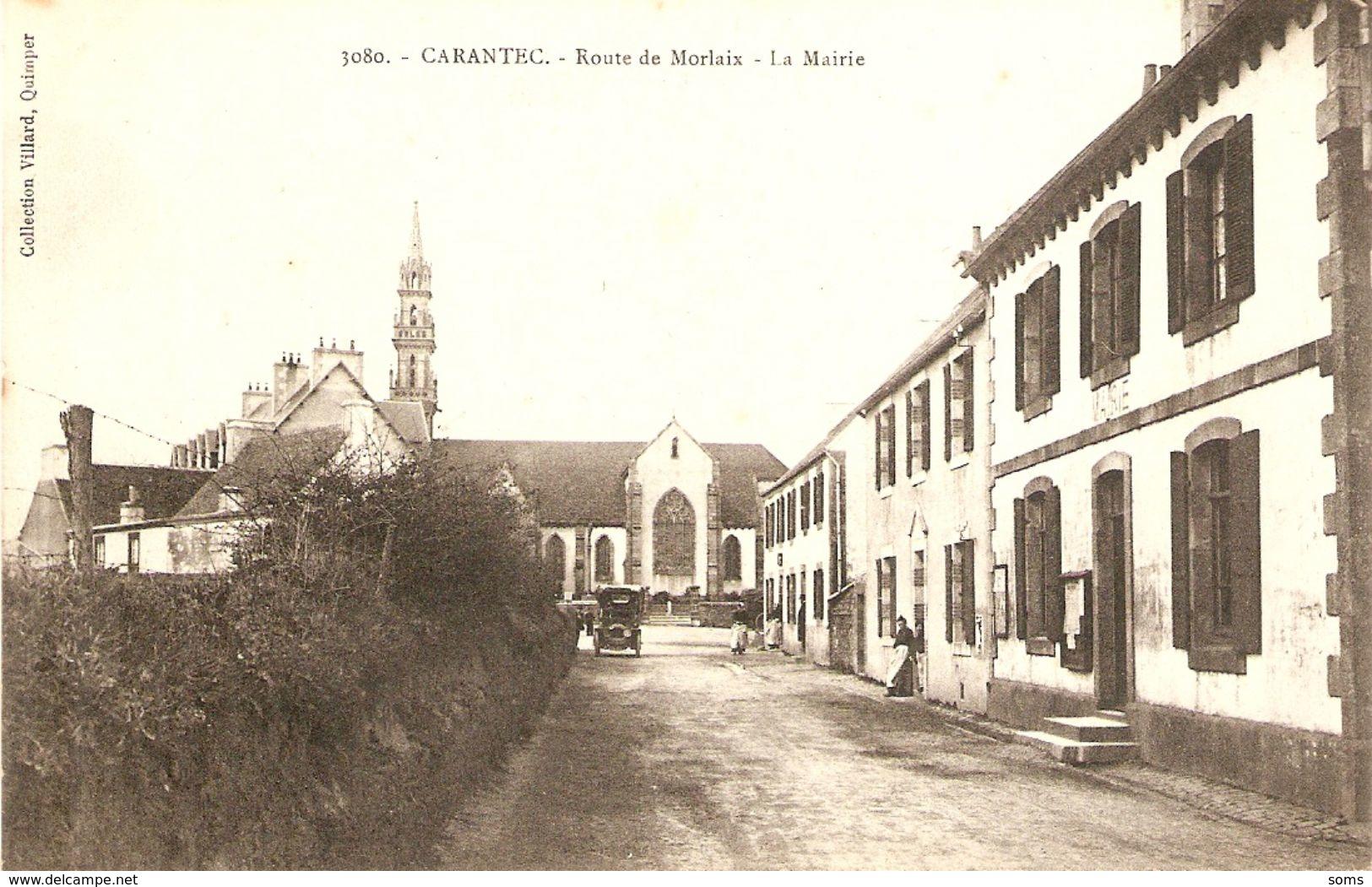 Cpa Du Finistère, Carantec (29), La Mairie Route De Morlaix, Collection Villard 3080, Dos Vierge, Voiture - Carantec
