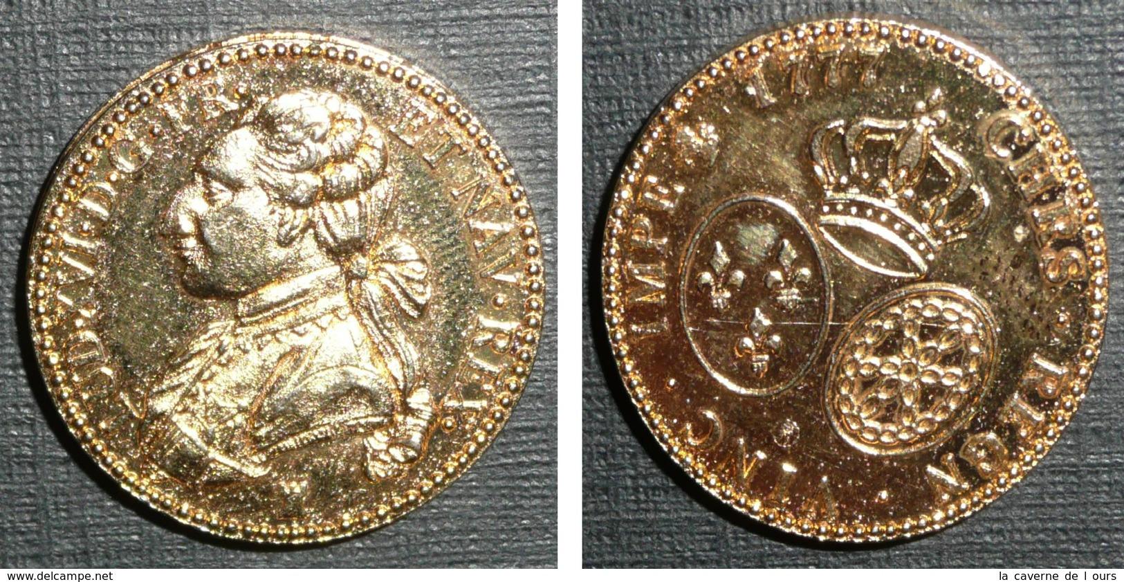 Copie Pièce De Monnaie En Métal Doré, Louis 16 1777, Roi De France, Lud.XVI.D.G.FR.ET NAV.REX - Monnaies & Billets