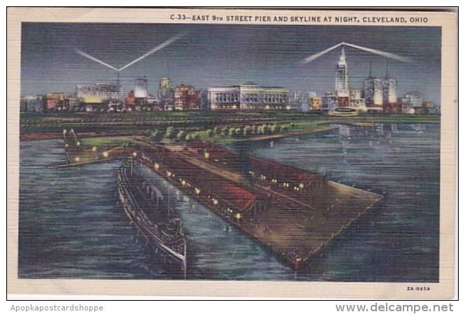Ohio Cleveland East 9th Street Pier and Skyline At Night 1947 Cu