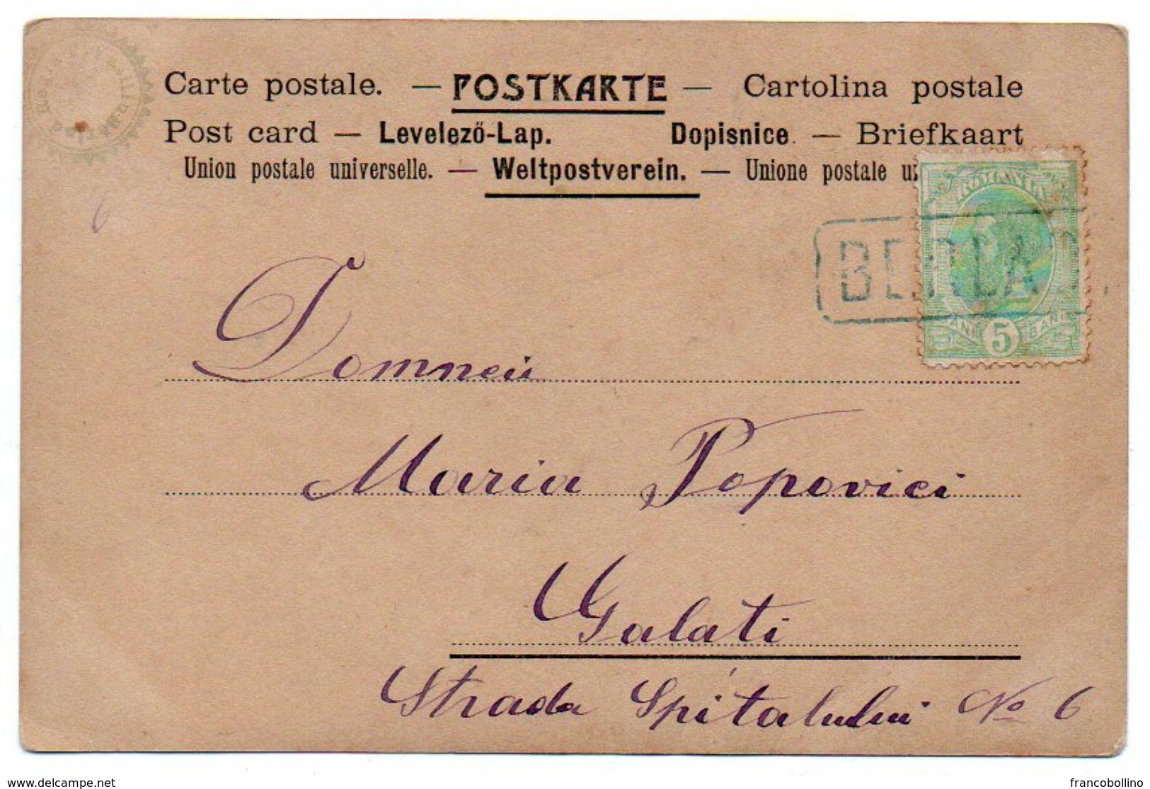 ROMANIA/ROUMANIE - BERLAD/BARLAD - PORTRAIT OF ACTRESS ?? / CANCEL BERLAD - 1901 - Romania