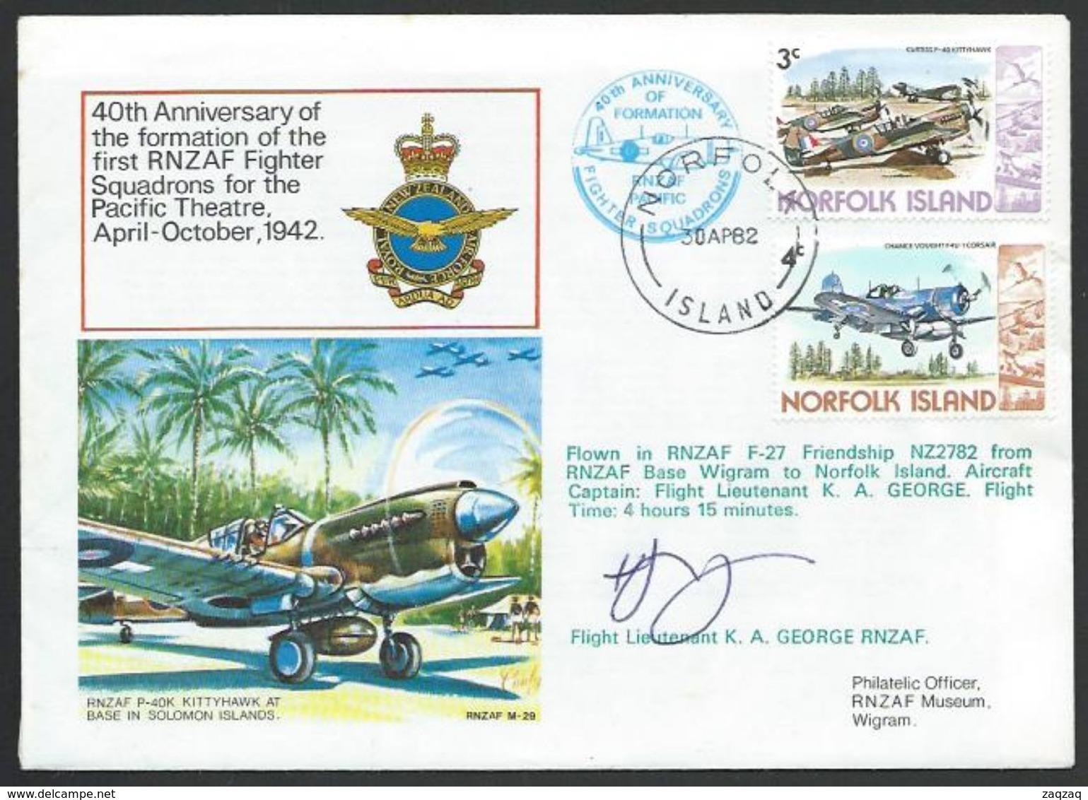 NORFOLK IS 1982 RNZAF Fighter Squadron Signed Commem Cover.................56583 - Ile Norfolk